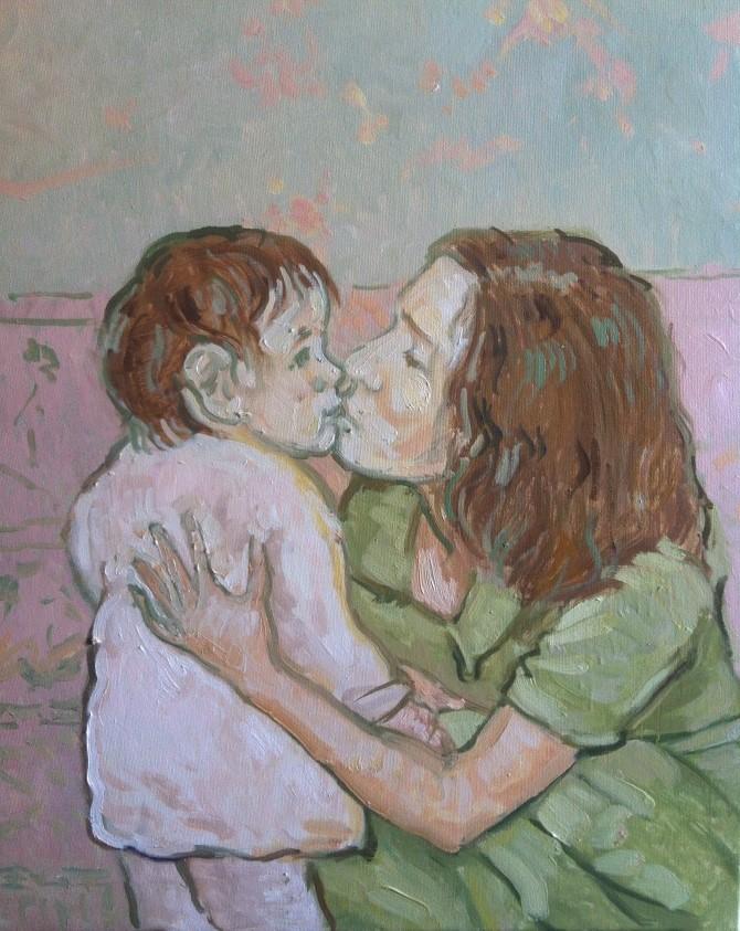 Mama cu puiul - ulei/panza