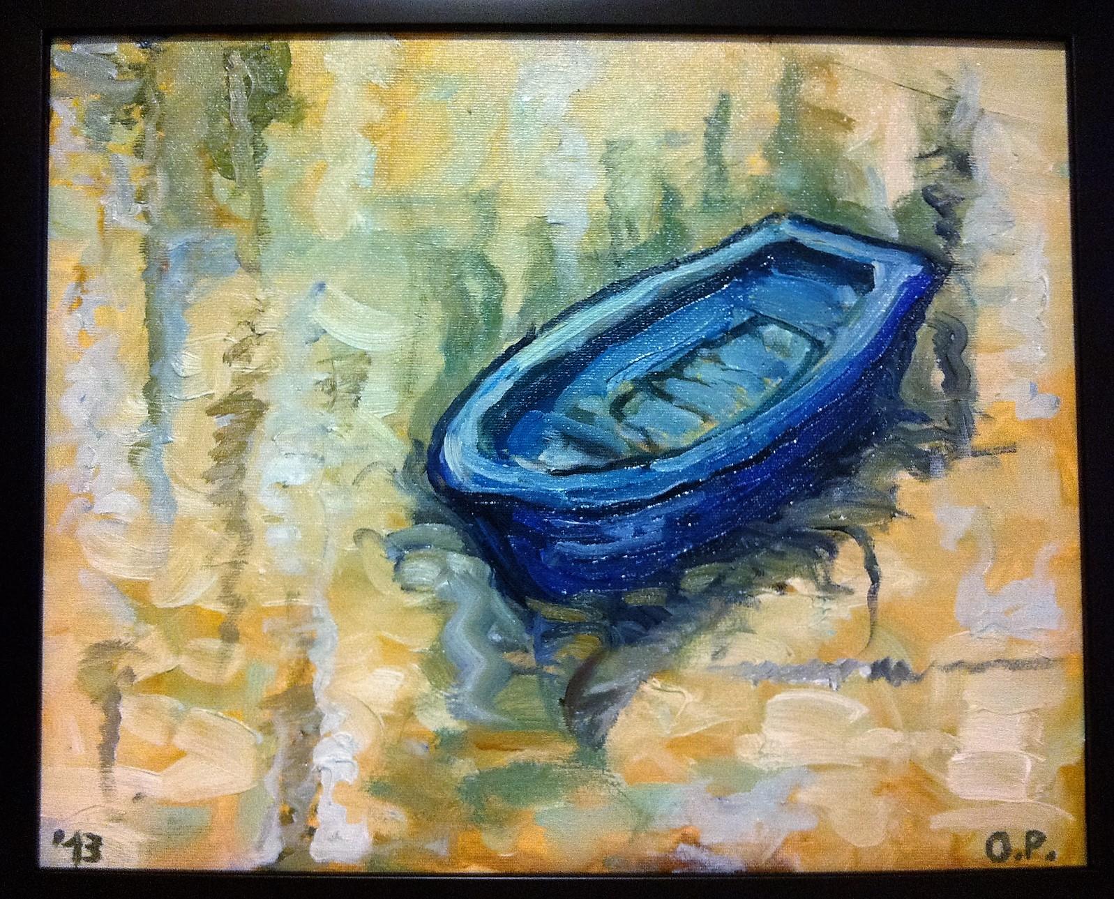 Barca albastra - ulei/panza